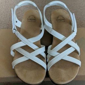 Bass White Mini Wedge Sandals